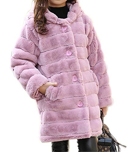 Sitmptol Girl's Winter Coat Thick Padded Long Winter Jacket Parka with Fur Hood 170 Pink