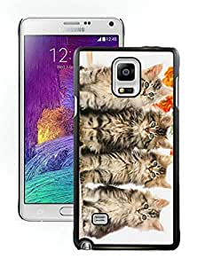 Lovely Christmas Cat Series 75 Design Samung Galaxy Note 4 Case - Black Frame Hard Case Shock-Absorption Bumper with Anti-Scratch Hard Case for Samung Galaxy Note 4