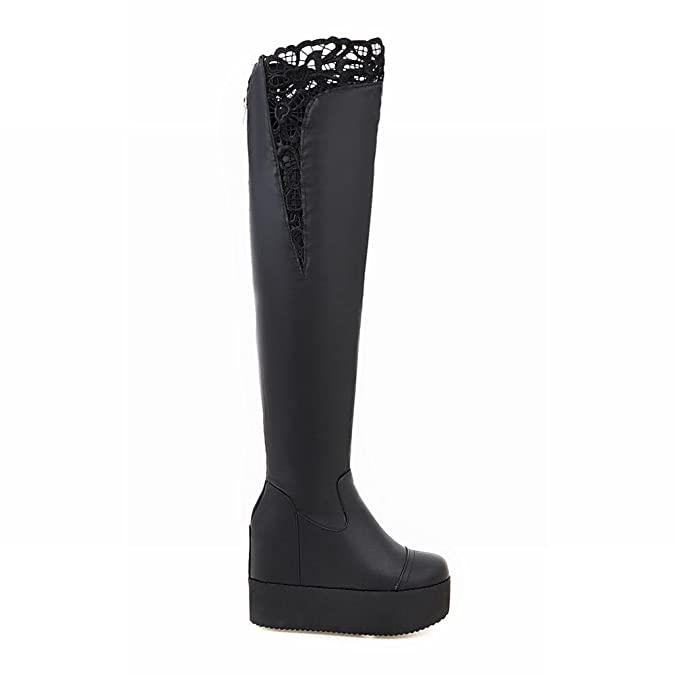 Mee Shoes Damen runde langschaft mit Lace hidden heel Stiefel: Amazon.de:  Schuhe & Handtaschen