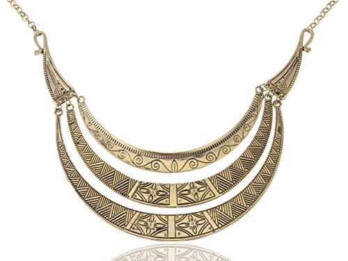 Alilang Bronze Tone Egyptian Crescent Moon Shaped Bib Adjustable -