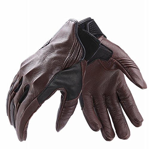 Jackcome(Jackcome) Motorcycle Gloves for Men or Women,Sheepskin Leather Waterproof Gloves for Winter Driving Motocross Racing,Fashion Enough Gifts (brown, Medium)