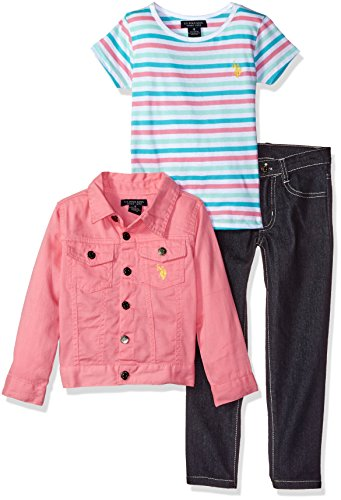 Girls Pink Denim (U.S. Polo Assn. Little Girls' Twill Jacket Striped T-Shirt and Stretch Denim Jean, Pink Lemonade, 5)