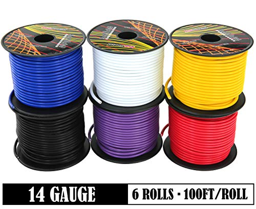 GS Power 14 Gauge 6 Rolls of 100 Feet (600 ft total) Copper Clad Aluminum Low Voltage Primary Wire. For 12V Automotive Harness Car Audio Video Amplifier Remote Trailer Hookup Drone Model Train Wiring (14guage Copper Wire)