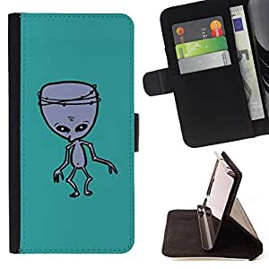 Jordan Colourful Shop - alien green ufo mutant zombie For Apple Iphone 6 PLUS 5.5 - Leather Case Absorci???¡¯???€????€????????&