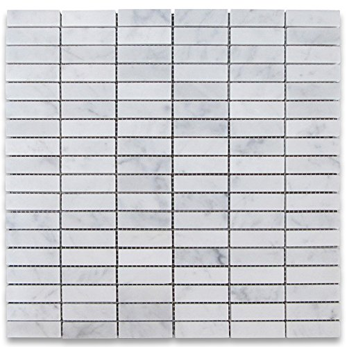 Carrara White Italian Carrera Marble Rectangular Stacked Mosaic Tile 5/8 x 2 Polished - 0.625 X 0.625 Mosaic