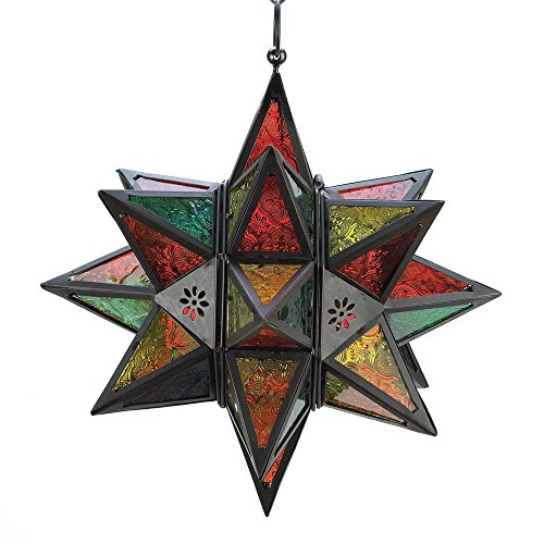 (Star Hanging Lantern, Colored Large Candle Lantern Glass Table Outdoor )