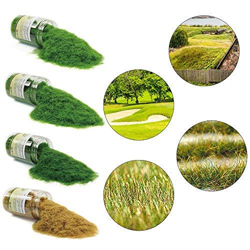 CFA7 4 x 300ml Mixed 8mm Static Grass Terrain Powder Green Fake Grass Fairy Garden Miniatures Landscape Artificial Sand Table Model Railway Layout