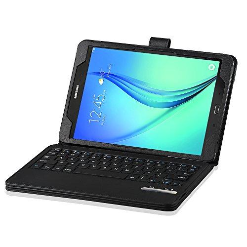 IVSO Samsung Galaxy tab A 9.7 Bluetooth Tastatur (QWERTZ Tastatur)- mit Standfunction , Abnehmbare Wireless Bluetooth Tastatur Schutzhülle NUR geeignet für Samsung Galaxy Tab A T555N/T550N 24,6 cm (9,7 Zoll) LTE Tablet-PC, Keyboard-Schwarz