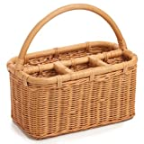 The Basket Lady Wicker Utensil Caddy, One Size, Toasted Oat
