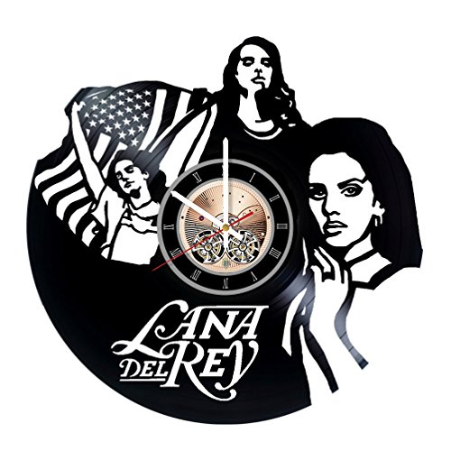 Ideas Costume Music (Lana Del Rey Vinyl Record Wall Clock - Get unique Living Room wall decor - Gift ideas for friends, mother and father - Music Unique)