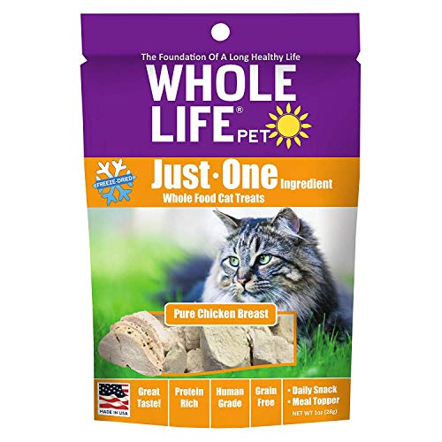 WholeLife Pet Fully Cooked - Hypoallergen Organic Treats - Single Ingredient USA Freeze Dried Treats for Cats - Pure Chicken - USA