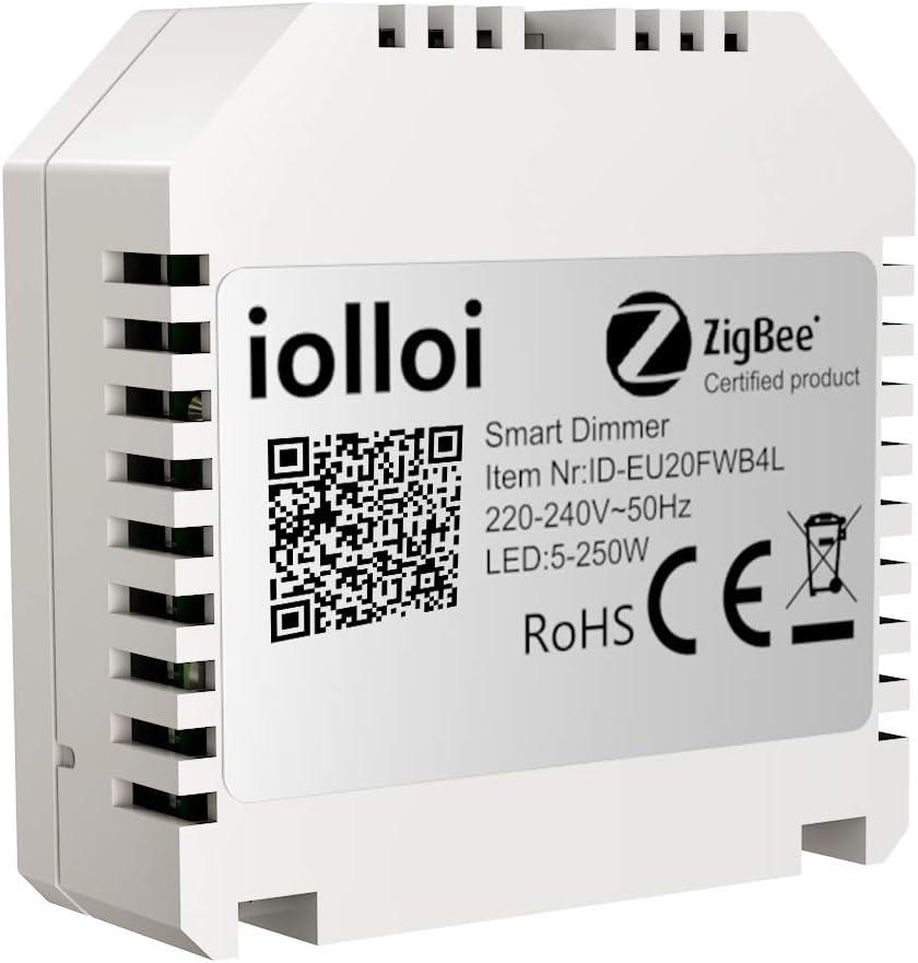 kompatibel mit Alexa und Philips Hue,3 Jahre Garantie iolloi Zigbee 3.0 Unterputz Dimmer-Schalter 5-250 W,Phasenabschnitt-Dimmer und Fernbedienung f/ür Dimmbare LED und Halogen Lampen,1 Kanal 230V