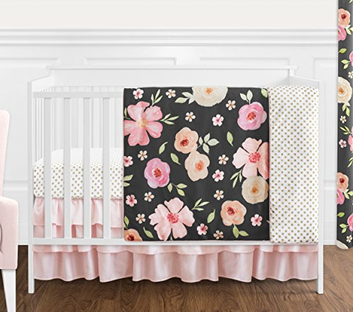 Sweet Jojo Designs Black, Blush Pink and Gold Shabby Chic Watercolor Floral Baby Girl Crib Bedding Set Without Bumper - 4 Pieces - Rose Flower Polka Dot
