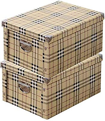 Guozi Caja de almacenamiento plegable decorativa con tapa y asas de metal, esquinas reforzadas de metal, cajas de almacenamiento de archivos de oficina, 2 Pcs - Plaid, 30*20*15cm: Amazon.es: Hogar