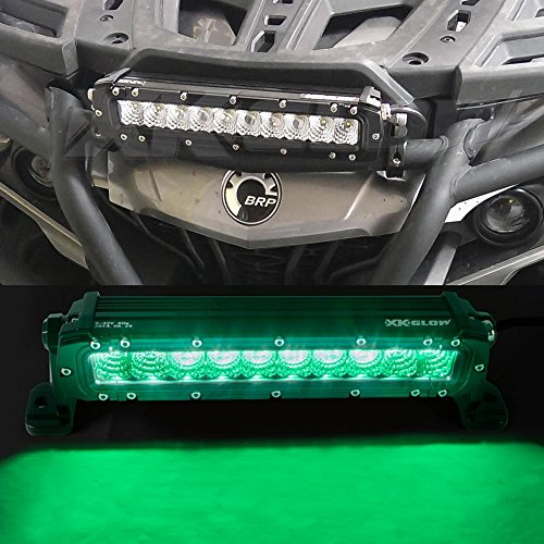 Green 10 inch Hunting & Fishing LED Light Bar - Spot Flood Combo 3,000 Lumens CREE LED Offroad Work Light