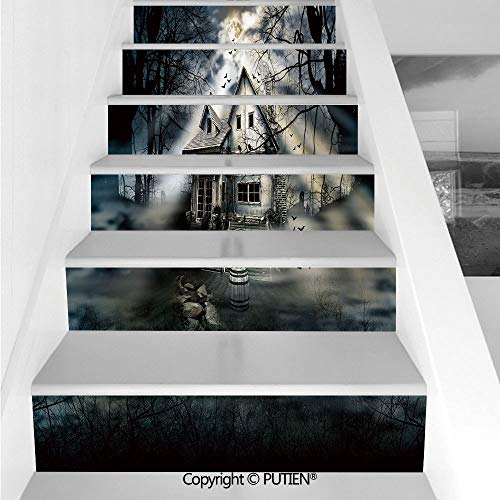PUTIEN Exquisite Stair Stickers Wall Stickers,6 PCS Self-Adhesive [ Halloween,Haunted House with Dark Horro -