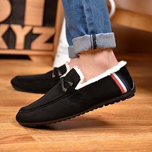 O & N Mens Chaussure De Conduite Occasionnelle Glisser Sur Des Chaussures De Neige Intérieur Mocassins En Plein Air Noir