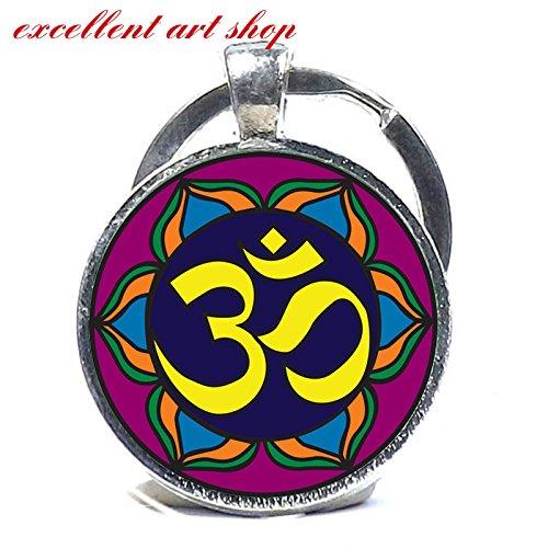 Om Keychain, Yoga Key Chain, Purple Lotus Flower Blossom, Om Symbol, Zen, Buddhism, charm gift Yoga keychain - Lotus Blossom Symbol