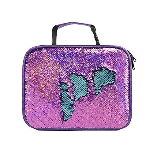 Reversible Sequins Insulated Lunchbox for Girls Violet Lightweight Lunch Containers Bag (Violet/Light Blue) ()
