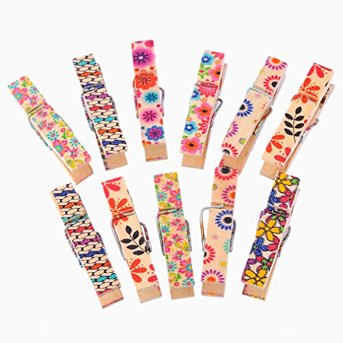 Souarts Mixed Spring Wood Wooden Clothespins Clips Flower Printed 3.5x0.9cm Pack of 50pcs