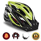 Basecamp Specialized Bike Helmet with Safety Light,Adjustable Sport Cycling Helmet Bicycle Helmets for Road & Mountain Motorcycle for Men & Women,Youth Safety Protection (BlackGreen-BigLight)