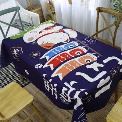 Japanese style anecdote cat thickened dining cotton and linen rectangular tablecloth table coffee table round tablecloths  1 B07S88P6R9