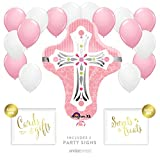 Andaz Press Balloon Party Kit with Signs, Girl Baptism Christening Confirmation, Cross with Pink and White Balloons, Hanging Decor, Hanging Decorations, 19-Piece Kit, Christian, Catholic, Easter