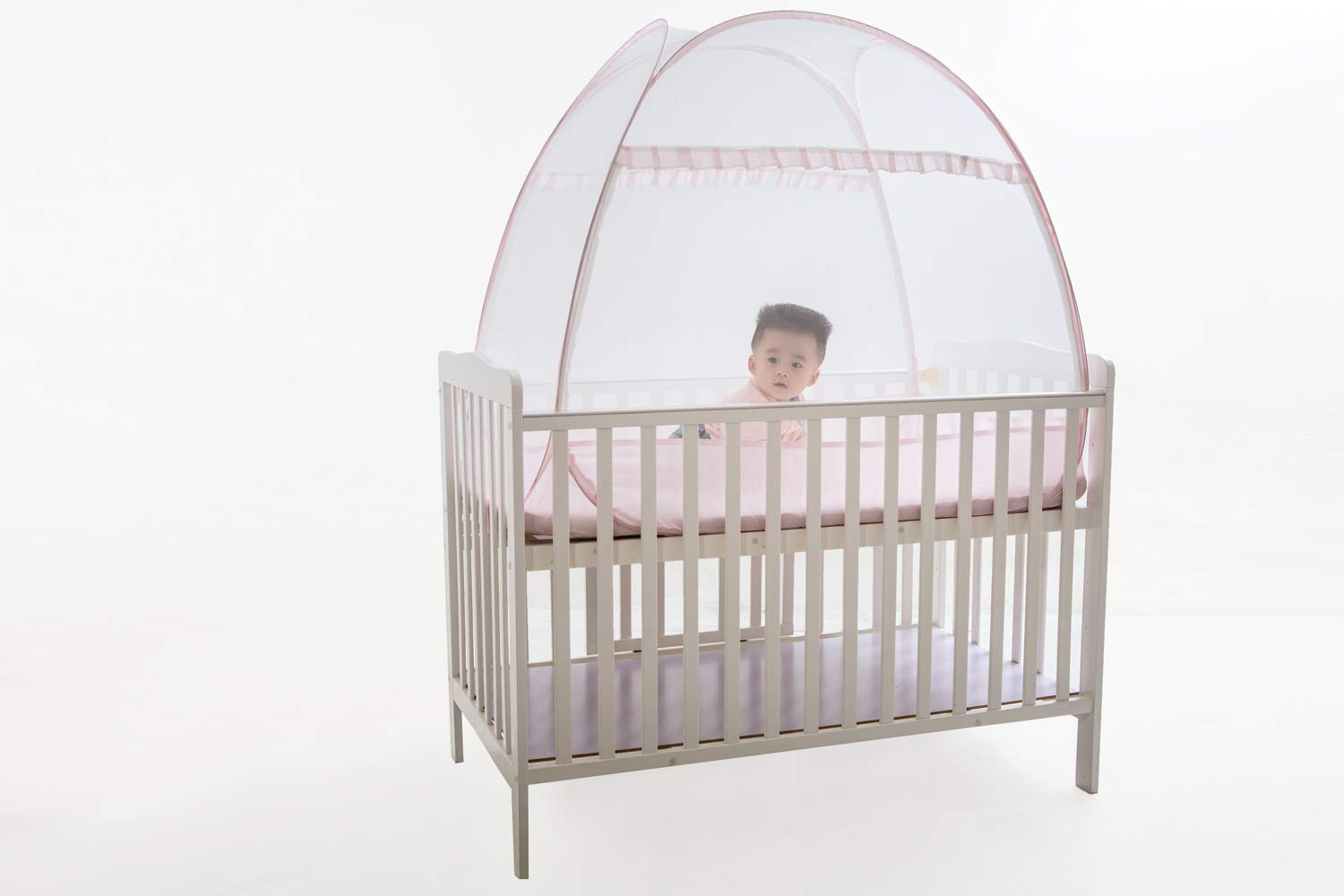 Baby Crib Tent, V-Fyee Baby Bed Pop up Mosquito Net Safety Tent Canopy Cover to Keep Toddler from Climbing Out and Keep Insects Out (Pink, 47''L x 26''W x 39''H)