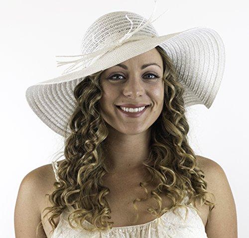 CAPTAIN FLOATY Captain Big Floppy Beach Sun Hat Wide Brim Straw Hat for Women White Medium