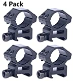 TACwolf 4 Pack Scope Rings 1 Inch Medium Profile Scope Mounts for Picatinny Weaver Rail
