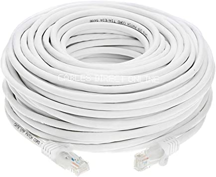 CAT5E ETHERNET PATCH CABLE 25FT WHITE CATEGORY 5E ROUTER CORD 25/' SNAGLESS RJ45