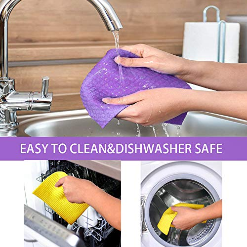 Swedish Dishcloths for Kitchen No Odor, Reusable Cleaning Cloths for Kitchen, Eco-Friendly Cellulose Sponge Cloth Absorbent Dishcloths for Kitchen, Home Use with Bonus Rack, Set of 11pcs