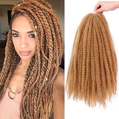 Afro Kinky Marley Braiding Hair Kanekalon Synthetic Twist Curly Hair Marley Braids Twist Crochet Braiding Hair Marly Hair Crochet Extensions for Black Women 3 Packs (27#,18Inchs)