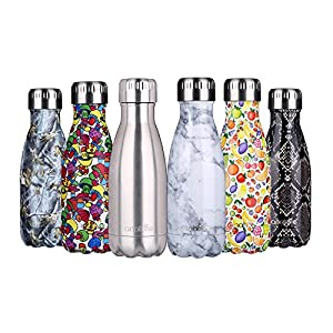 """anature"" Stainless Steel Water Bottle,Double Wall Vacuum Insulation,Cola Shaped for Kids,Ladies,Business Convenience,Small Size,9oz,Brushed SS"