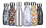 'anature' Stainless Steel Water Bottle,Double Wall Vacuum Insulation,Cola Shaped for Kids,Ladies,Business Convenience,Small Size,9oz,Brushed SS