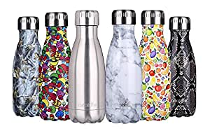 anature Stainless Steel Water Bottle,Double Wall Vacuum Insulation,Cola Shaped for Kids,Ladies,Business Convenience,Small Size,9oz,Brushed SS