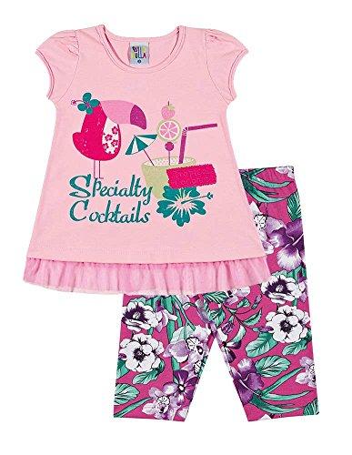 - Pulla Bulla Toddler Girl Outfit T-Shirt and Capri Leggings 2 Years - Light Pink