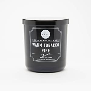 DW Home Warm Tobacco Pipe Scented Candle in Medium Black Jar with Lid Single Wick