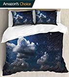 Paddy Benedict Luxury 3 Piece Cover 79'x 79',Soft Hypoallergenic Microfiber Suede Bedding,Celestial Solar Night Scene Stars Moon and Clouds Heaven Place in Cosmos Theme Dark Blue White