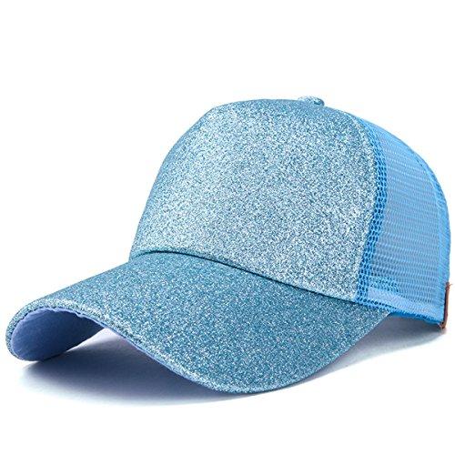 ATIMIGO Trend Glitter Baseball Cap for High Ponytail Women's Messy Bun Glitter Trucker Baseball Cap Special for Women Girl (Light ()