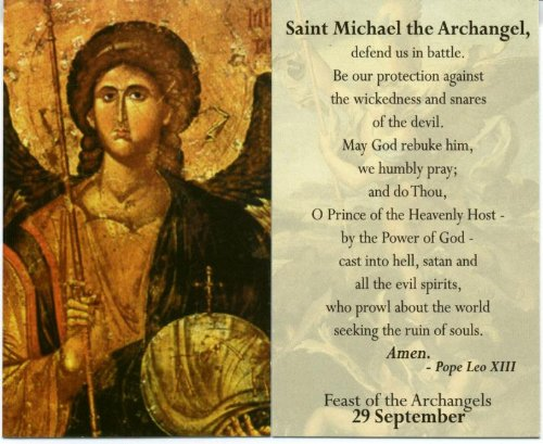 (Saint St Michael the Archangel Holy Card)