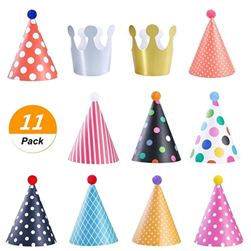 SelfTek 9 Pack Birthday Party Cone Hats Fun Cone Party Hats and 2 Crown Hats with Lovely Pom Poms for Children and Adult party ()