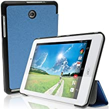 """iGadgitz Premium Blue PU Fibre Textured Smart Cover Case for Acer Iconia Tab 8 A1-840FHD 8.0"""" with Multi-Angle Viewing Stand + Screen Protector"""