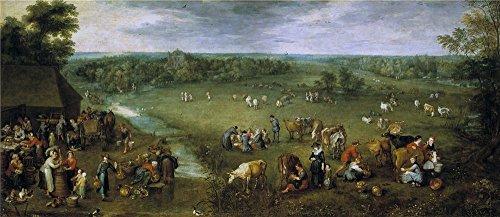 Oil Painting 'Brueghel The Elder Jan La Vida Campesina 1615 25 ' Printing On High Quality Polyster Canvas , 24 X 55 Inch / 61 X 141 Cm ,the Best -