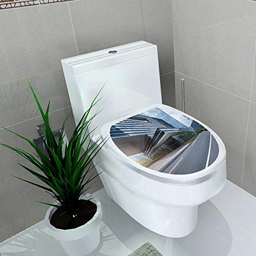 (Vanfan Decal Wall Art Decor Empty Road in Shanghai Town Square Bathroom Creative Toilet Cover Stickers W11 x L13)