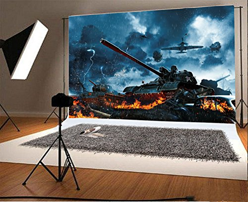 Laeacco 7x5FT Vinyl Backdrop Photography Background Three Tanks Under Fire Enemy Aircraft Rain Forest Burning Field Military Mission Countryside Scene War Theme Backdrop Photo Shooting Studio Props