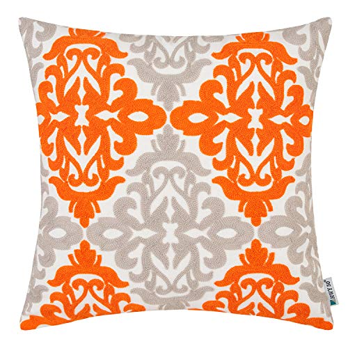 HWY 50 Orange Grey Embroidered Decorative Throw Pillow Covers Cushion Cases for Couch Sofa Living Room 18 x 18 inch Farmhouse Geometric 1 Piece (And Grey Orange Cushions)