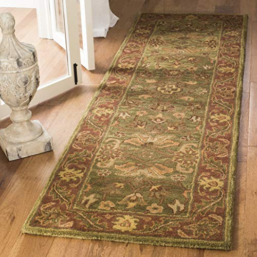 Safavieh Golden Jaipur Collection GJ250A Handmade Green and Rust Premium Wool Runner 2 3 x 14