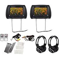 "Pair Rockville RHP7-BK 7"" Black TFT-LCD Car Headrest Monitors+2 Wireless Headset"