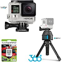 GoPro HERO4 BLACK 12MP Full HD 4K 30fps 1080p 120fps Built-In Wi-Fi Waterproof Wearable Camera Adventure 8GB Edition with GoPole Scenelapse 360 Time-Lapse Device and GoPole Base Bi-Directional Compact Tripod